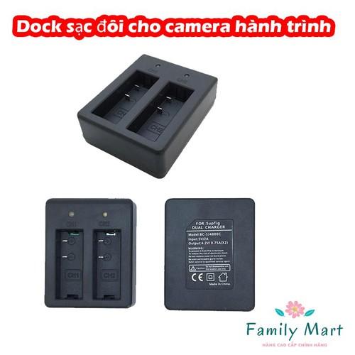 Dock sạc đôi cho camera hành trình Gopro, SJcam, Amkov, Eken, Soocoo