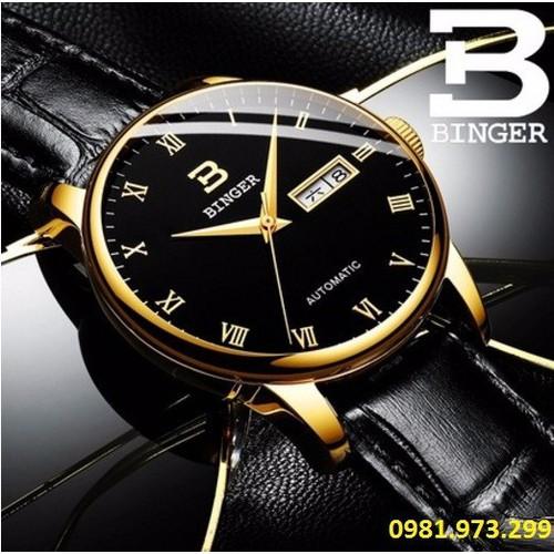 Đồng hồ kim nam Binger dây da