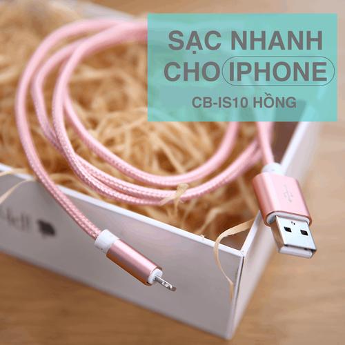 Sạc iPhone, iPad Bagi bọc dù siêu bền vàng-hồng hỗ trợ sạc nhanh