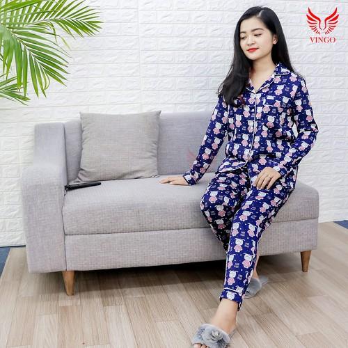 Đồ ngủ mặc nhà lụa họa tiết áo dài quần dài cao cấp Vingo Thu Đông 2019