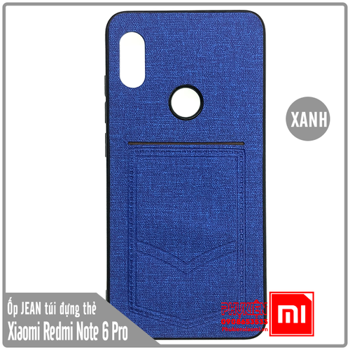 Ốp lưng Xiaomi Redmi Note 6 Pro - Note 6 giả JEAN túi đựng - xanh dương