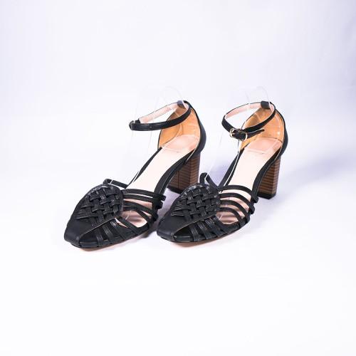 Giày Xăng Đan Rọ Gót Vuông 5cm Màu Đen – CG709