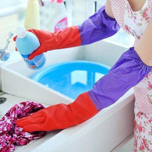 Găng Tay Rửa Chén Bát Lót Nỉ