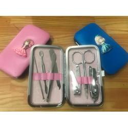 Bộ dụng cụ chăm sóc móng 7 món màu xanh lá,hồng,vàng