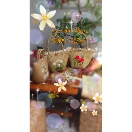 giỏ xách cói cỏ bàng túi xách nữ thời trang handmade