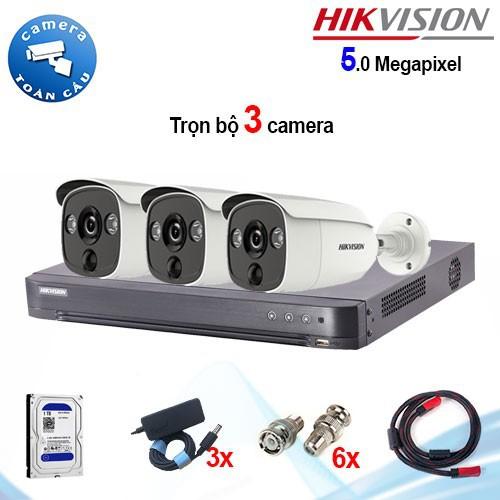 Trọn bộ 3 camera Hikvision DS-2CE12H0T-PIRL 5MP + đầu ghi 4 kênh DS-7204HUHI-K1