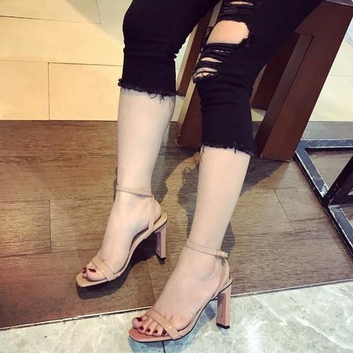 Giày sandal cao gót da bóng