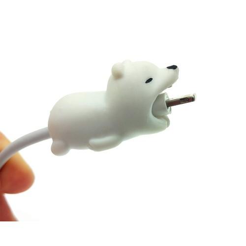 Nút Gắn Bảo Vệ Dây Cáp Sạc Iphone Cable Bite – Nút Gắn Bảo Vệ Dây Cáp Sạc Hình Động Vật Hoạt Hình Ngộ Nghĩnh Dễ Thương - Gấu Trắng