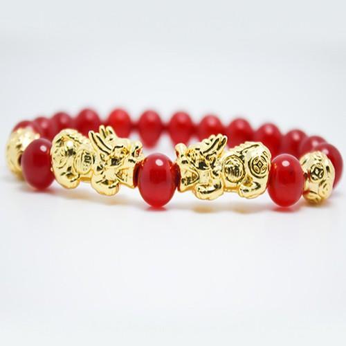Vòng tay đá mã não đỏ mix Tỳ Hưu vàng MS189, vòng tay phong thủy hợp mệnh Thổ, Hỏa cho nam và nữ