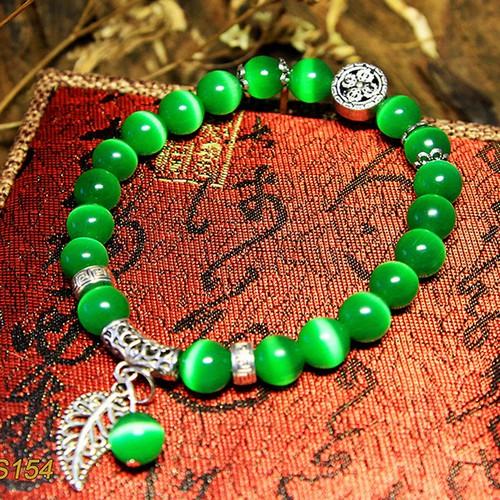 Vòng tay 10 ly đá mắt mèo xanh lá MS154, vòng tay phong thủy hợp mệnh Thổ, Mộc cho nam và nữ