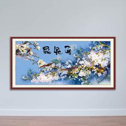 Tranh huê điểu, Tranh thư pháp chữ Phúc Lộc Thọ, Tranh gỗ MDF W1507