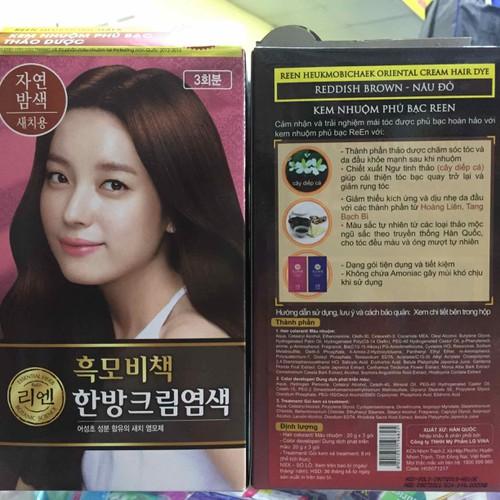 Kem nhuộm phủ bạc thảo dược REEN NÂU ĐỎ Hàn Quốc