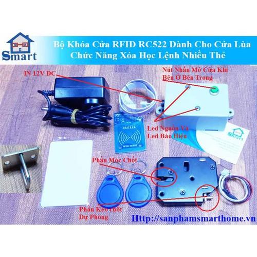 Bộ Khóa Cửa RFID RC522 Dành Cho Cửa Lùa Chức Năng Xóa Học Lệnh Nhiều Thẻ