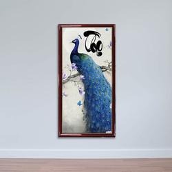 Tranh thư pháp chữ Thọ, Tranh chim công xanh W1505