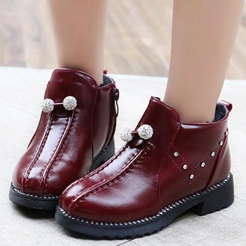 Giày boot ống bé gái châu pha lê