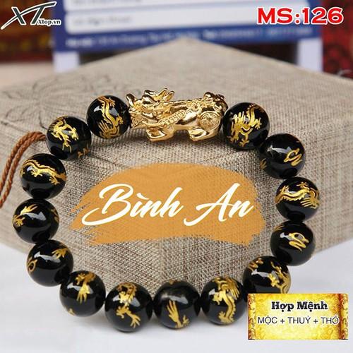 Vòng  tay 8 ly đá thạch anh đen khắc rồng mix Tỳ hưu vàng MS126, vòng tay phong thủy hợp mệnh thổ, mộc, thủy cho nam và nữ