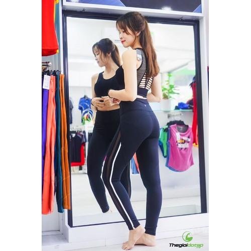 Quần phối sọc tập gym thể thao nữ