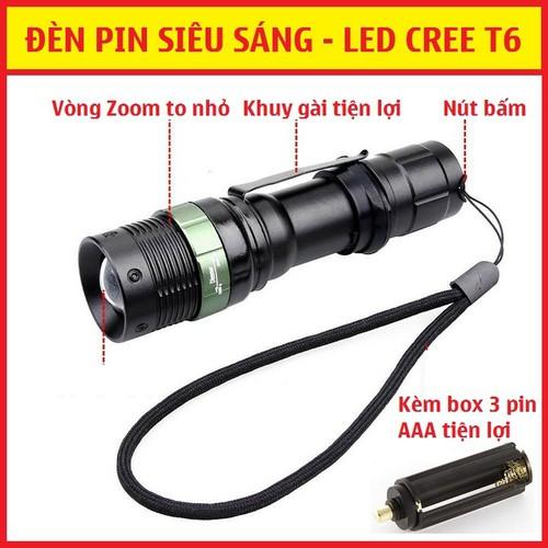 Đèn pin siêu sáng-kèm 2 pin 18650-sạc nhanh-box chuyển pin aaa-bộ như hình