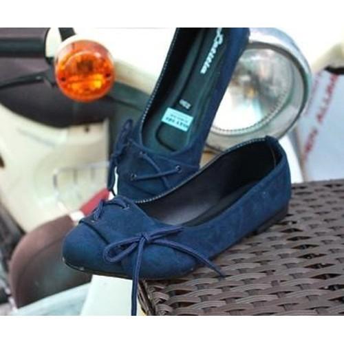 Giày búp bê nhung có dây thắt nơ 138