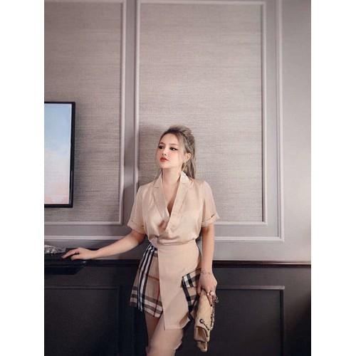 Set áo cổ vest tay ngắn  quần giả váy đắp chéo màu nude - 19447484 , 22170160 , 15_22170160 , 195000 , Set-ao-co-vest-tay-ngan-quan-gia-vay-dap-cheo-mau-nude-15_22170160 , sendo.vn , Set áo cổ vest tay ngắn  quần giả váy đắp chéo màu nude