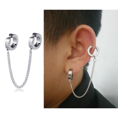 Khuyên kẹp tai và vành có dây xích nam nữ thép titan không dị ứng ms989