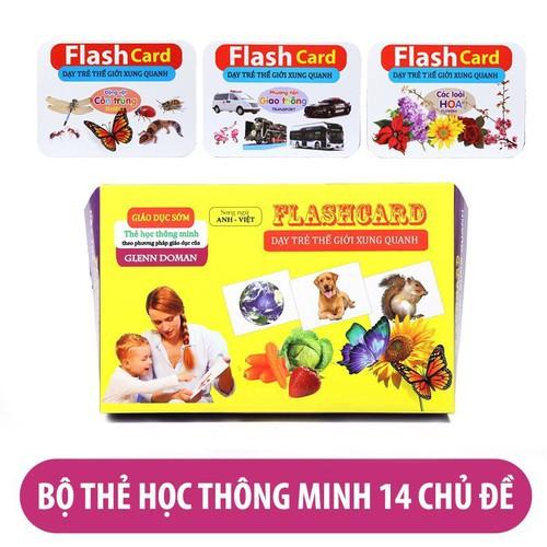 Bộ thẻ học thông minh song ngữ 2 mặt loại to gồm 14 chủ đề-flash card khổ 12x16cm