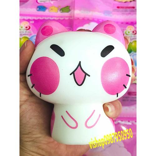 Squishy mèo cười má hồng nhắm mắt thaolinh950