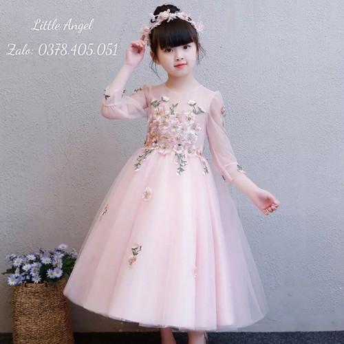 Đầm hồng công chúa bé gái hồng dài ren thêu cao cấp