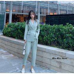 Bộ áo khoác vest blazer công sở và quần dài baggy quảng châu