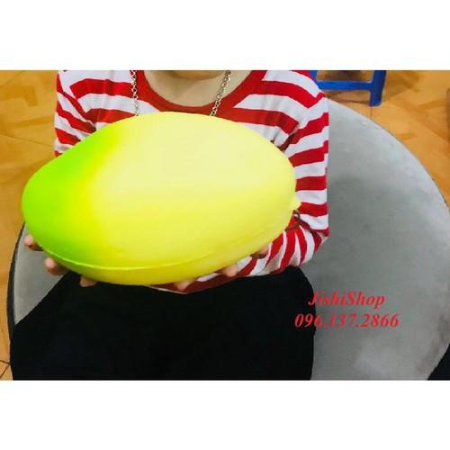 Giá sỉ xanh vàng quà tặng squishy quả xoài phối màu vàng xanh khổng lồ 20cm đồ chơi dễ thương cho trẻ
