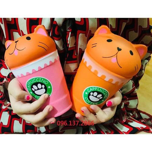 Café mèo cam squishy cốc café mèo màu cam loại to cảm xúc đáng yêu hết cỡ