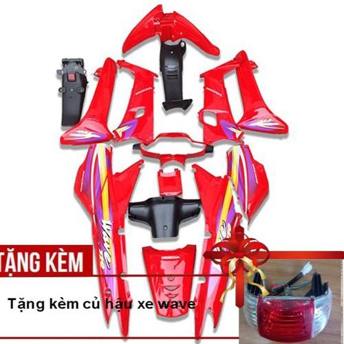 Dàn áo xe wave 110 - wave zx - wave alpha đời 2002 đến 2006, nhựa nguyên sinh abs màu đỏ cờ - tặng kèm củ hậu xe wave