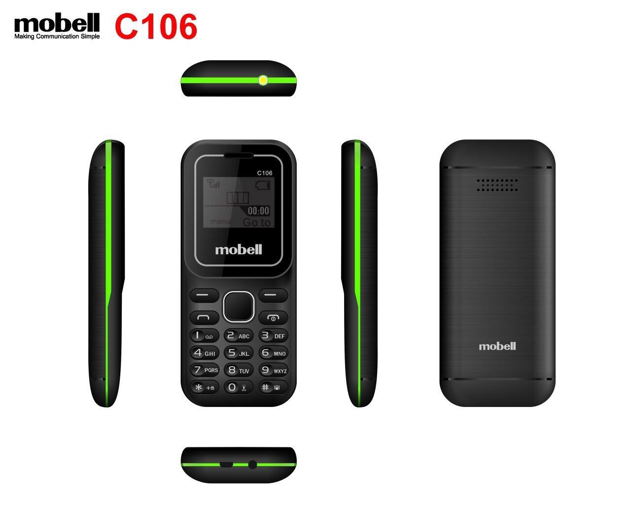 Điện thoại 2 sim Mobell C106 nghe nhạc mp3 nghe FM không cần tai nghe máy mới đầy đủ phụ kiện bảo hành hãng 12 tháng