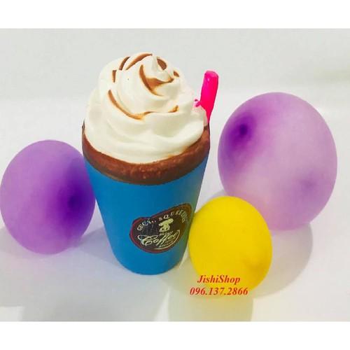 Giá sỉ xanh đò chơi squishy cốc kem màu xanh to bự dùng làm quà tặng đồ chơi dễ thương cho trẻ
