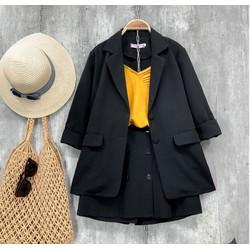 Set áo khoác vest, blazer công sở tay dài và quần giả váy chữ A