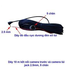 Dây tín hiệu cho camera lùi kết nối camera hành trình, dài 10m, jack 2.5mm, 5 chân