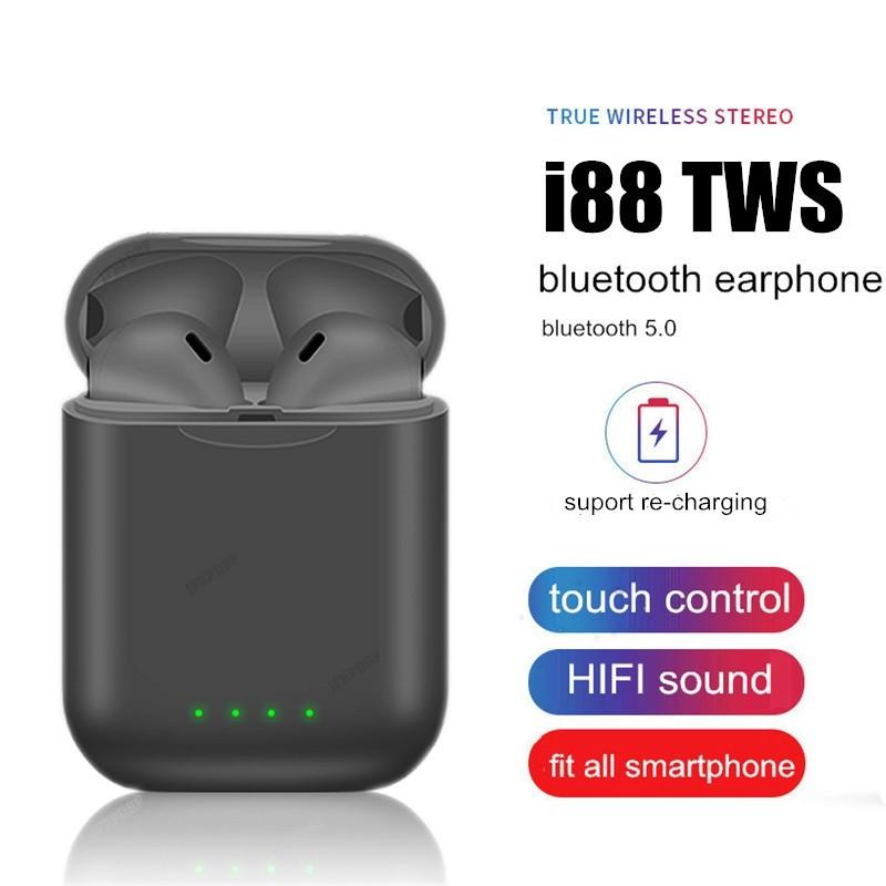 Tai nghe bluetooth cảm ứng vân tay I88 - đen nhám - I88
