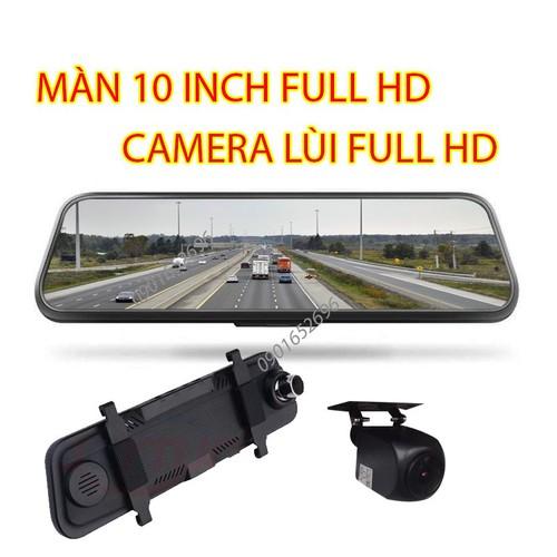 Camera hành trình gương chính hãng 10inch, full hd, 2 camera + thẻ 32