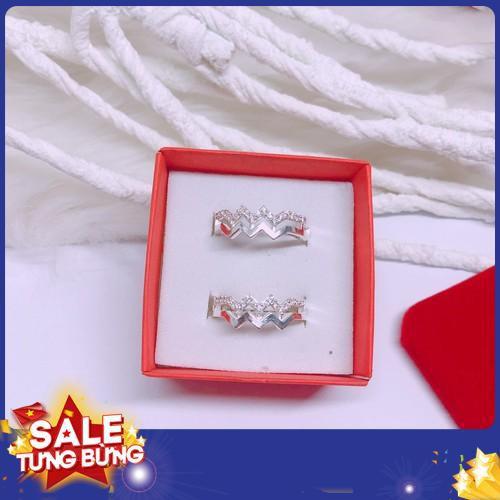 Nhẫn nữ bạc ta nhẫn sóng gắn đá nhỏ freesize nhẫn hở 2019 sale
