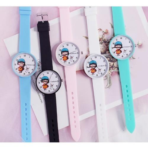 Tặng hộp + pin đông hồ - đồng hồ thời trang nữ candycat maruko dây silicon qa444