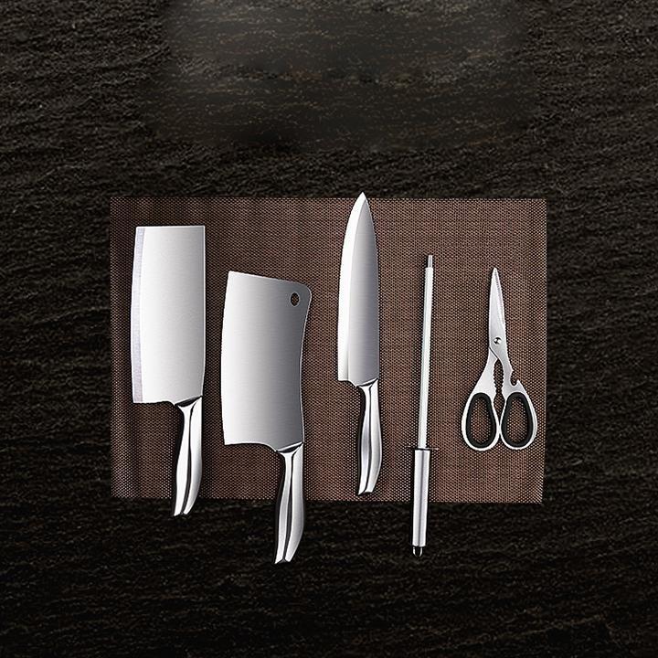 Hình ảnh GIẢM GIÁ- Bộ dao chặt xương, dao thái thịt, dao gọt hoa quả, kéo cắt, mài dao bằng inox cao cấp 304 kèm dụng cụ để dao Nhật Bản, Bo dao chat xuong, , mai dao bang inox cao cap 304 kem dung cu de dao Nhat Ban