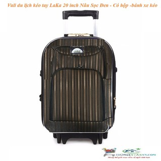 Vali du lịch kéo tay LaKa 20 inch Nâu Sọc Đen - Có hộp -bánh xe kéo - LK302 thumbnail