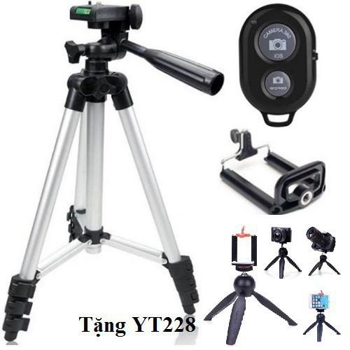 Combo 3 món chân đế chụp hình tripod tf 3110 kẹp điện thoại remote bluetooth tặng 1 chân đế yt228 shopgiare567