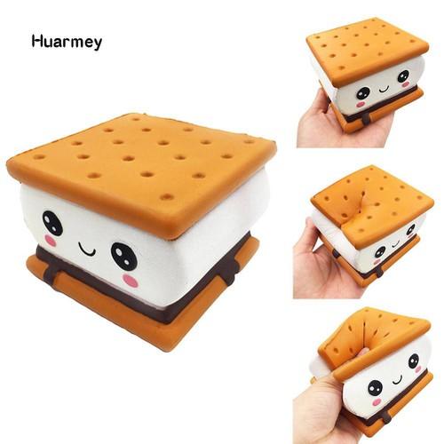 ★hu squishy sandwich biscuit emoji slow rising relieve stress kids adult squeeze toy mã spql7689