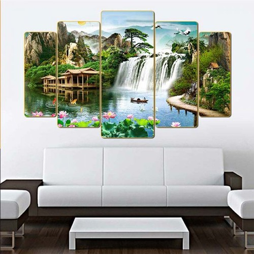 Bộ tranh phong cảnh sơn thủy ghép tấm  h16058528