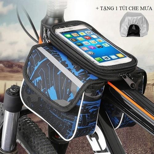 Túi treo sườn trước xe đạp 2 ngăn có ngăn cảm ứng cho điện thoại dưới 6,2 inch tặng túi bọc chống nước