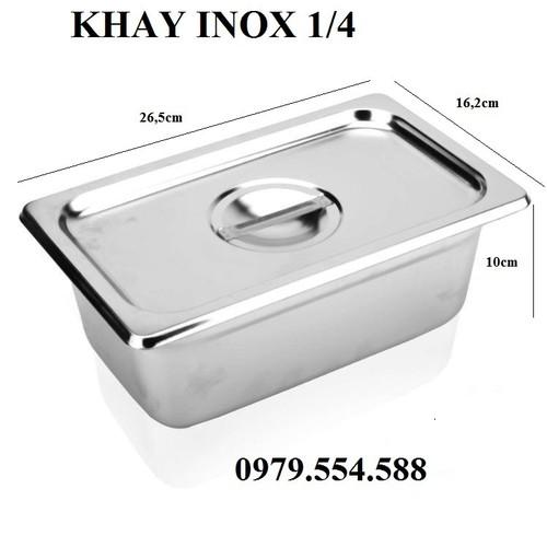 Khay inox đựng topping - đựng kem 1 phần 4 kích thước 26.5cm x 16.2cm x 10cm