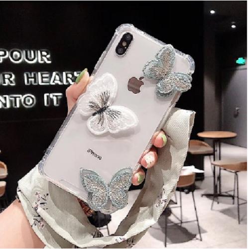 Ốp lưng silicon gắn hình con bướm siêu xinh và dễ thương dành cho iphone từ 6 đến xsmax