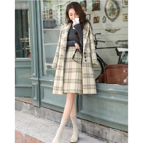Sét áo khoác dạ nữ dáng dài+ chân váy chữ a  thương hiệu eirtenny