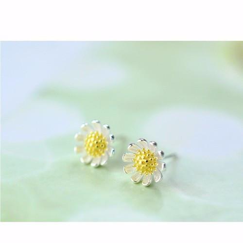 Bông tai hoa cúc bạc hàn quốc
